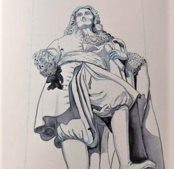 dessin-de-la-statue-de-pierre-paul-riquet-en-contre-plongée-